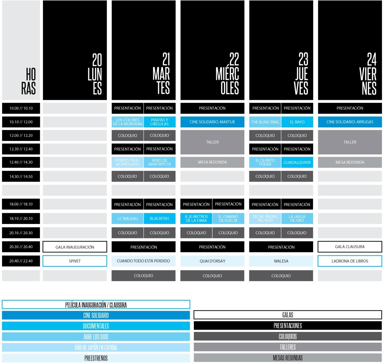 programación y horarios festival